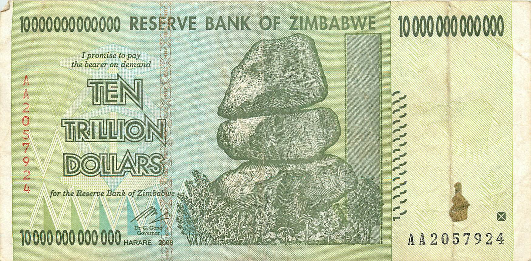 ten trillion Zimbabwe dollars. Not the largest currency in circulation, but close.