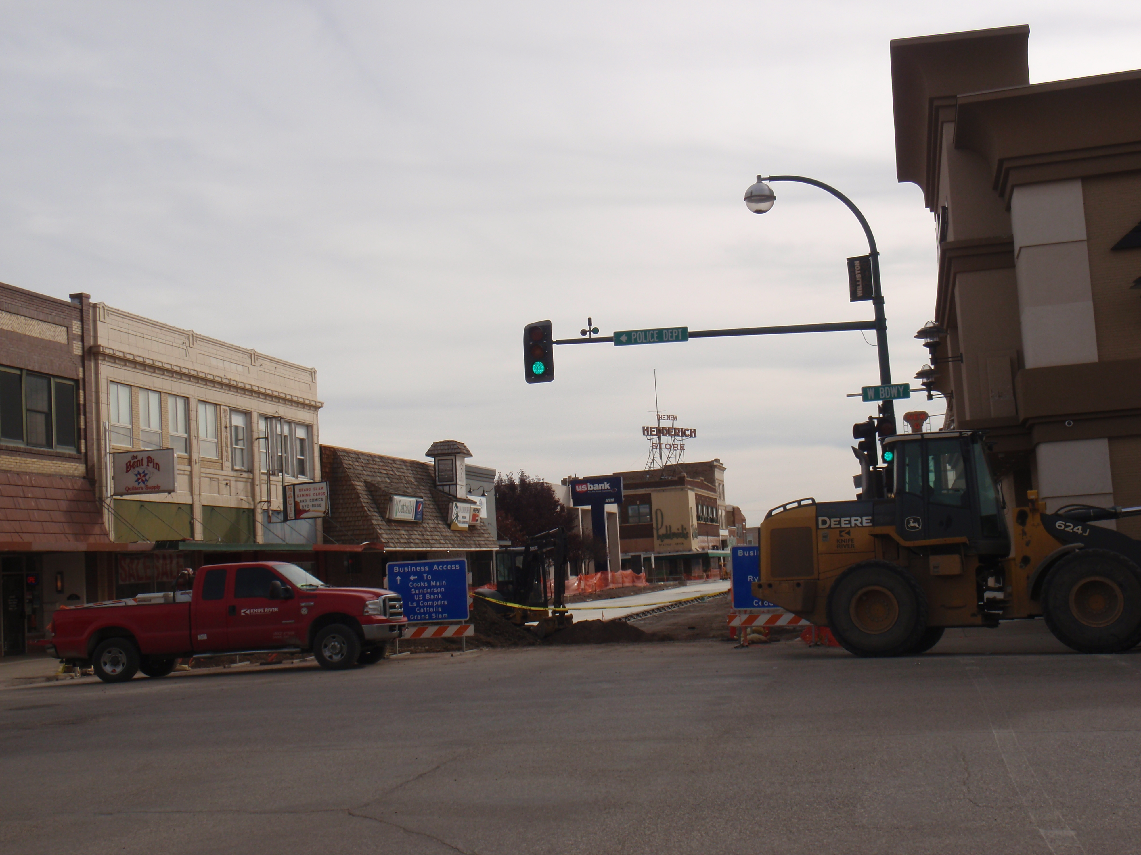 Looking south on Main, construction underway in 10/14. Photo by James Ulvog.