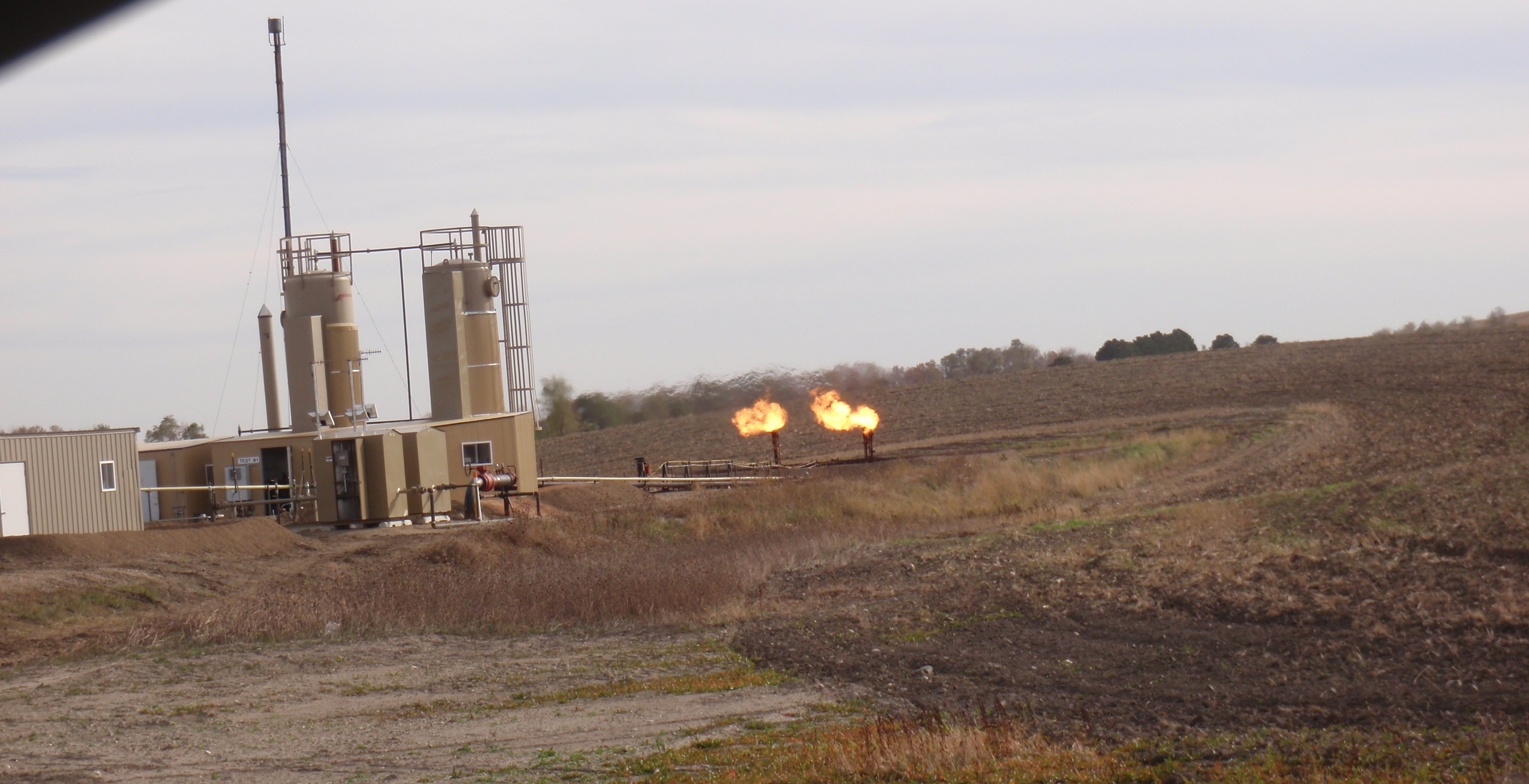 Photo of flaring at two well pad by James Ulvog