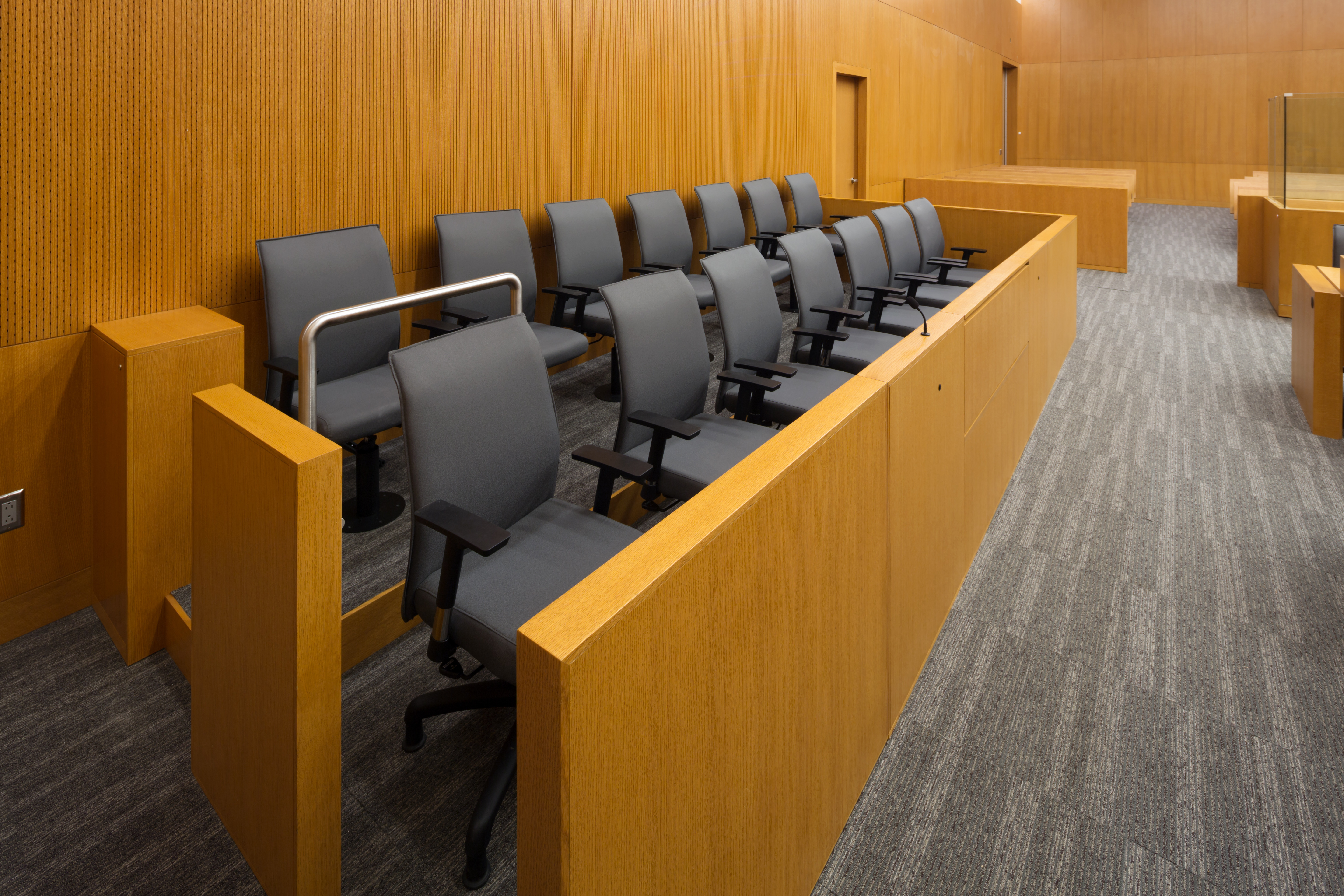Jury Box in a court room. Photo courtesy of DollarPhotoClub.com