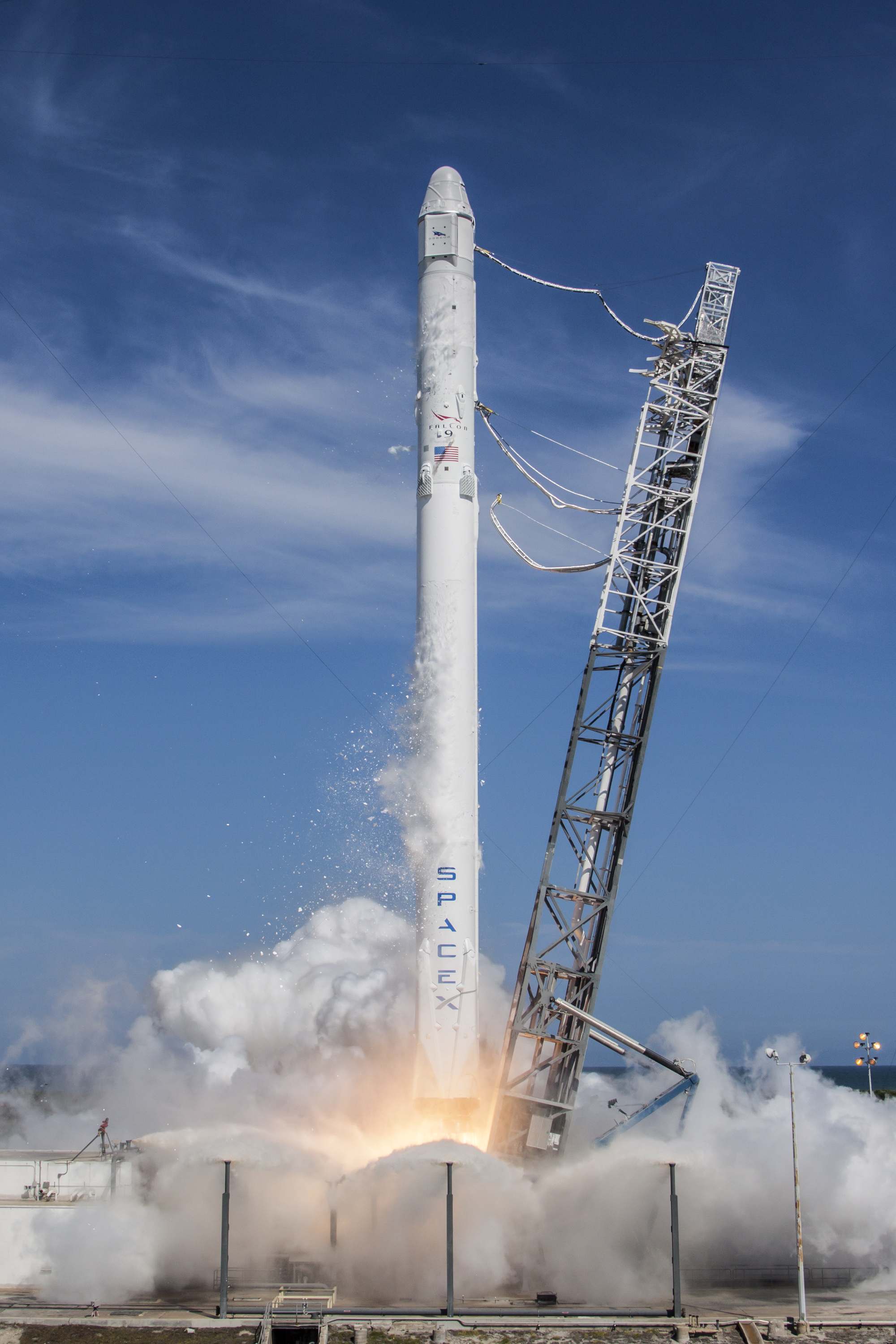 Private space launch of privately developed rocket. Photo courtesy of SpaceX.
