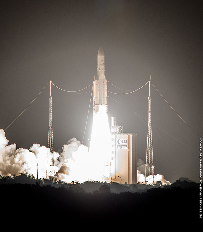 Ariane 5 liftoff for VA227 launch. Credit: Arianespace.