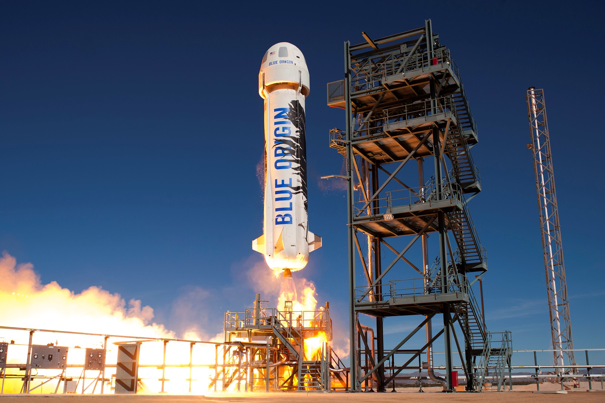New Shepard booster above was launched a second time and recovered a second time. Photo courtesy of Blue Origin. Used with permission.