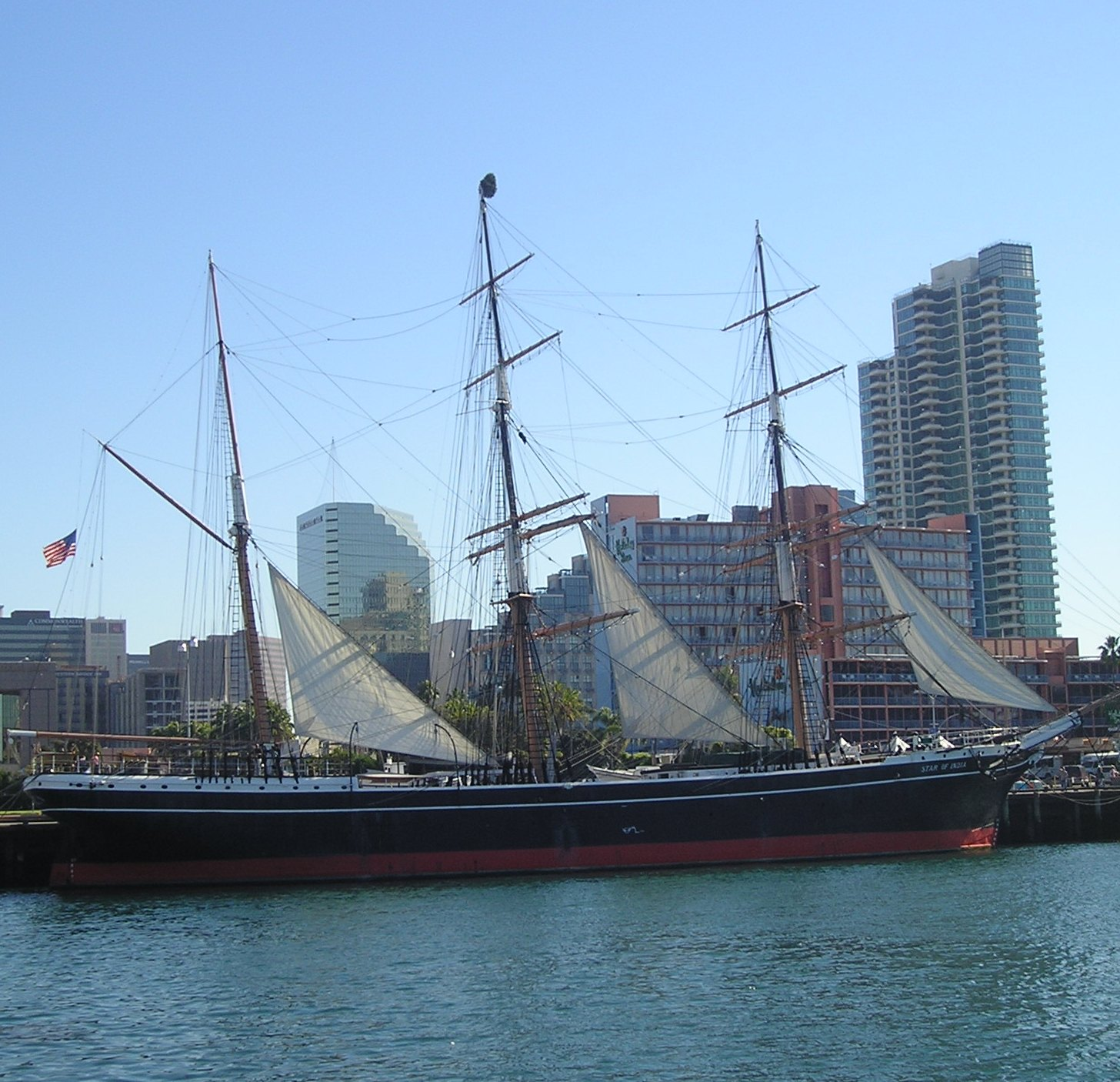 State of the art travel in the 1860s. Star of India sailing ship in San Diego harbor. Photo by James Ulvog.