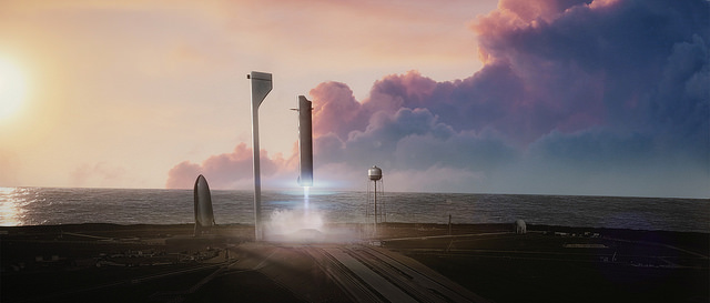 Drawing of booster landing back at the launch pad. Credit: Flickr, SpaceX has placed this in public domain.