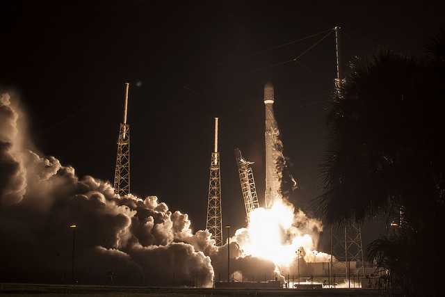 In terms of space flight, that photo shows the old-style rocket science. Image of JCSAT-16 is in public domain, courtesy of SpaceX.