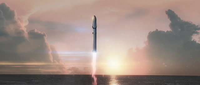 Drawing of our possible ride to Mars. Credit: Flickr, SpaceX has placed this in public domain.