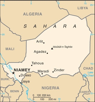 Map of Niger. Notice Agadez near the center of the country. Image courtesy of CIA Factbook.