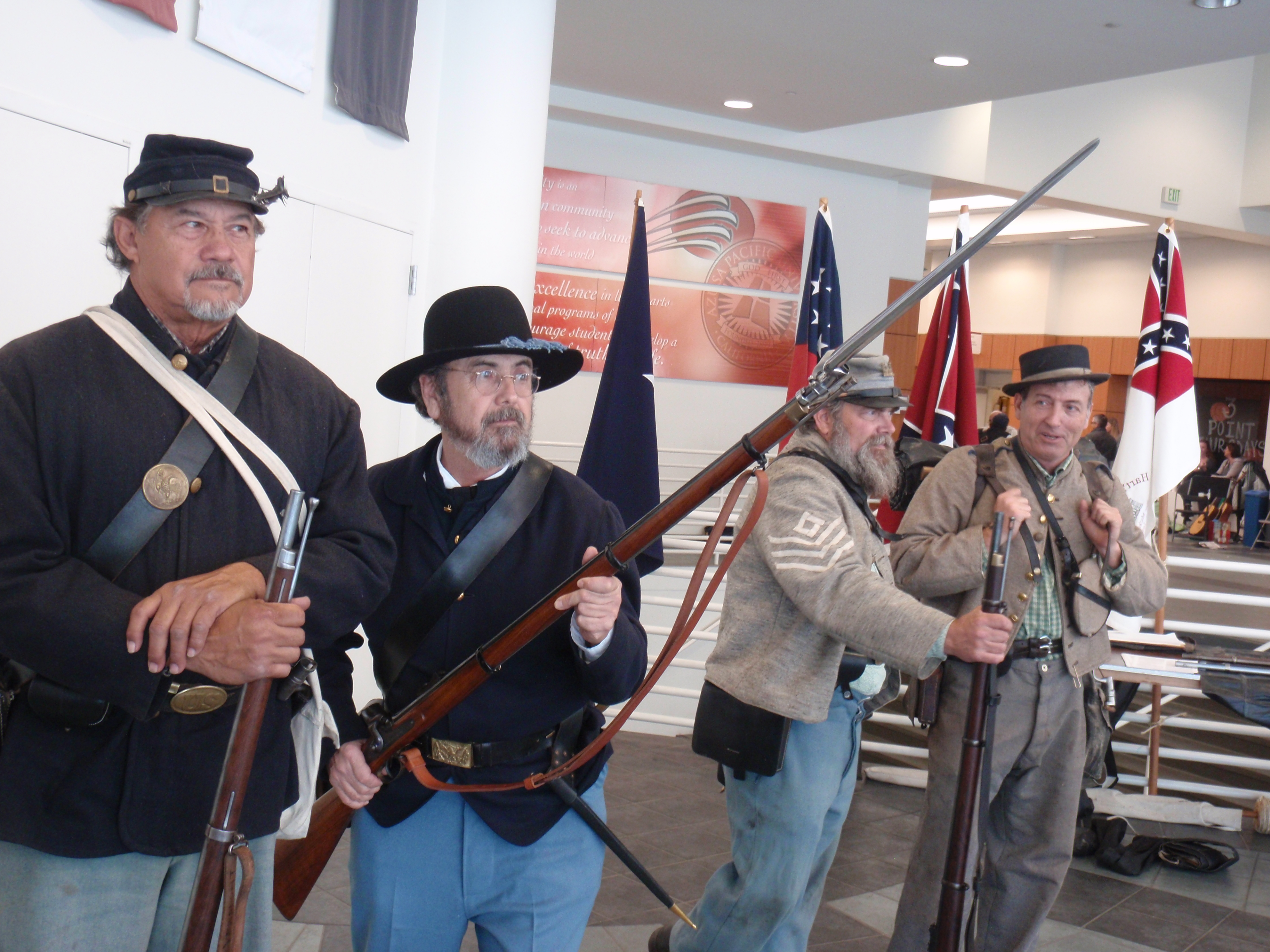 Union and Confederate soldier reenactors at Azusa Pacific University on 3/1/14. I do not recall what unit they are with. Photo by James Ulvog.