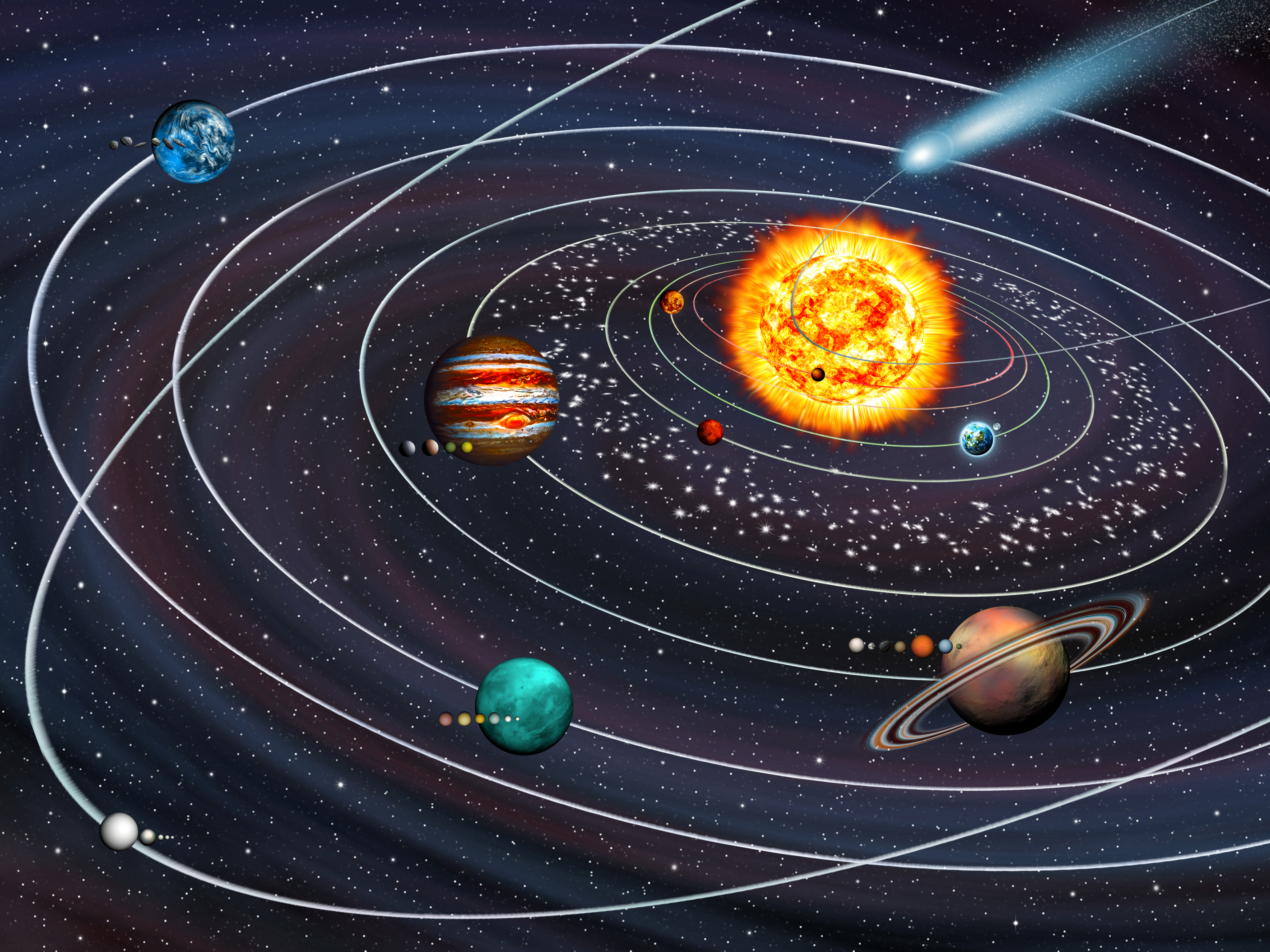 Our solar system with illustrated asteroid belt between Mars and Jupiter. Image courtesy of Adobe Stock.