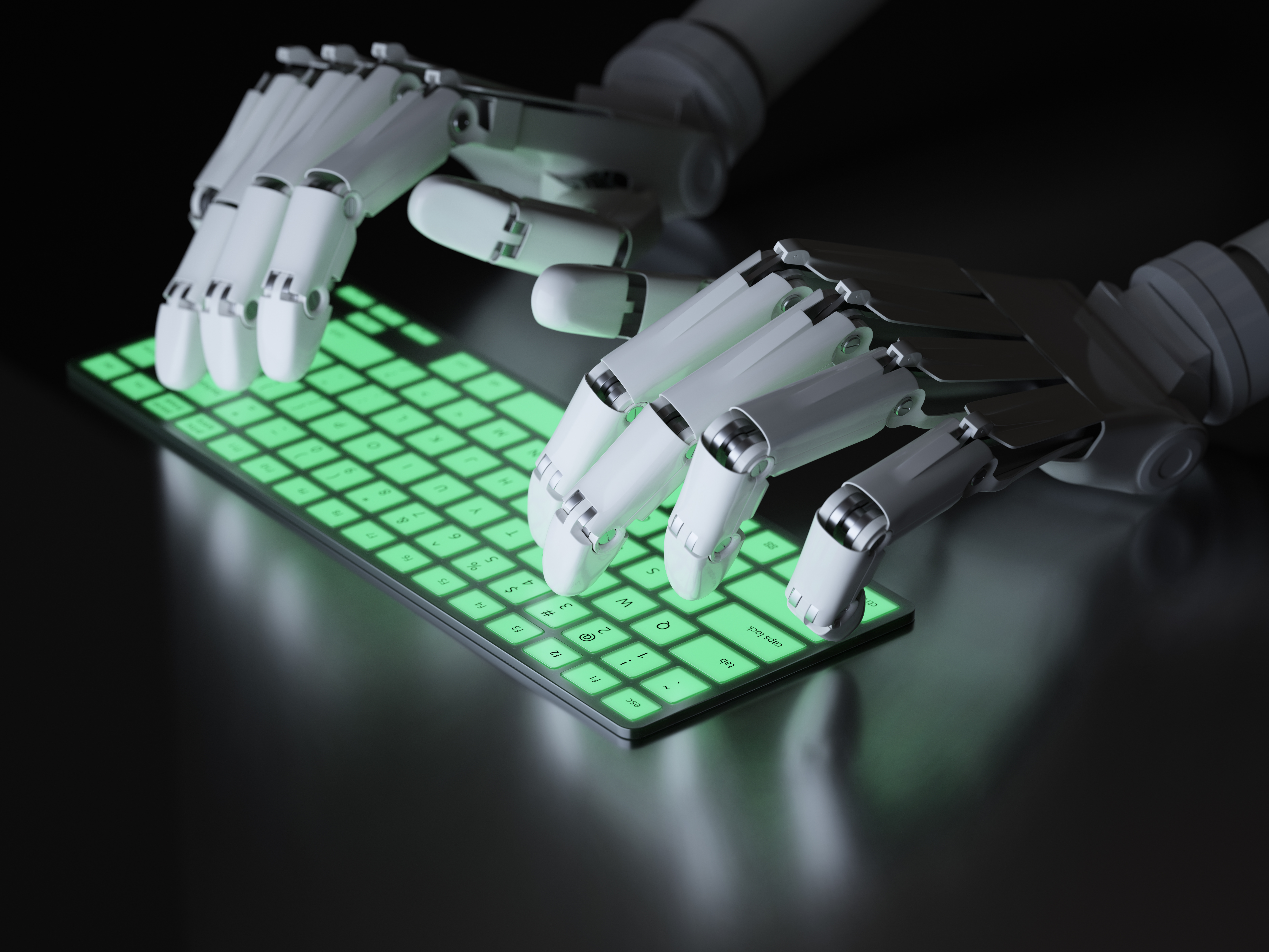 Is that robot telling other robots what parts to pull in an Amazon warehouse? Or is it searching databases to develop your profile before picking which call center operator to connect you to? Image courtesy of Adobe Stock.