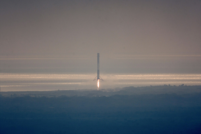 Successful recovery of Falcon 9 booster during CRS-10 mission. Credit Flickr. Courtesy of SpaceX who has placed their photos in the public domain.